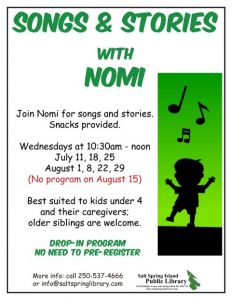 Songs and Stories with Nomi @ Salt Spring Island Library | | |