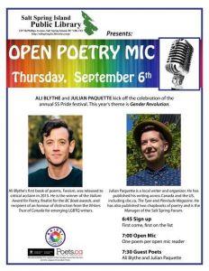 Poetry Open Mic: Julian Paquette & Ali Blythe @ Salt Spring Island Public Library  |  |  |