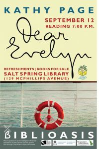 Book Reading - Dear Evelyn by Kathy Page @ Salt Spring Island Public Library |  |  |