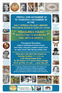 Treasures Found: Ruckle & Neighbours Arts and Crafts Exhibit @ Salt Spring Island Public Library |  |  |
