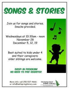 Songs & Stories @ Salt Spring Island Public Library | | |