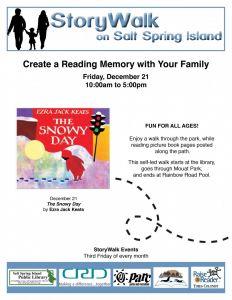 StoryWalk   The Snowy Day by Ezra Jack Keats @ Salt Spring Island Public Library      